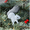 Hand painted gray squirrel Christmas ornament.