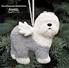 Hand painted Old English Sheepdog with a Balloon ornament.