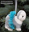 Hand painted Old English Sheepdog Dance Lessons ornament.
