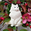 Hand painted longhair white cat sitting Christmas ornament.